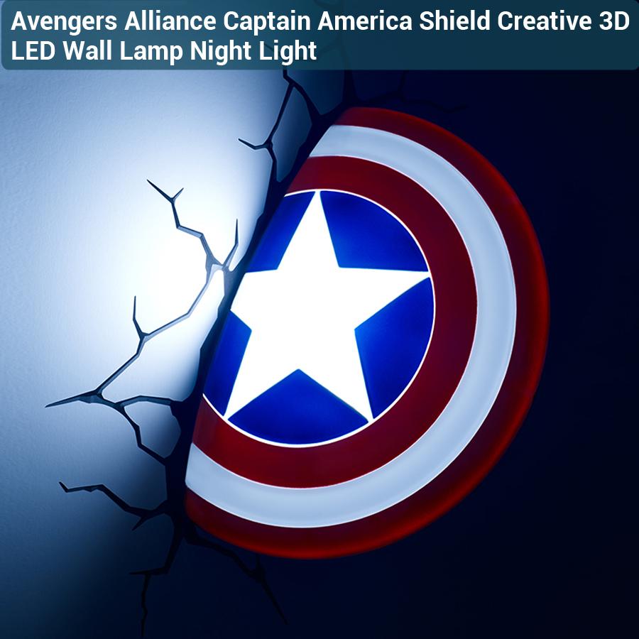 3D Avengers Alliance Captain America Shield Creative LED Wall Lamp Night Light Living Room Children's Bedroom Decoration