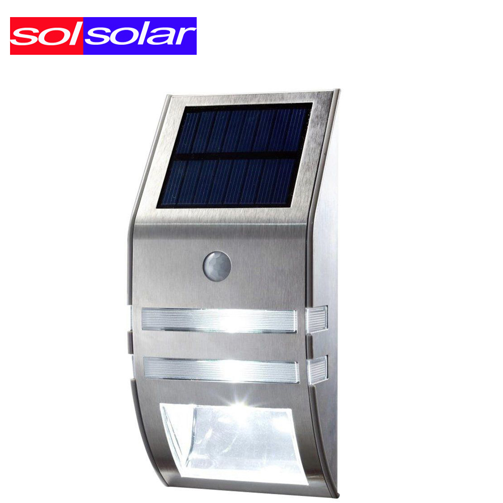 B And M Solar Wall Lights : 10pcs/lot Day white/Warm white Stainless Steel Motion Sensor LED solar Light Garden Wall Path ...