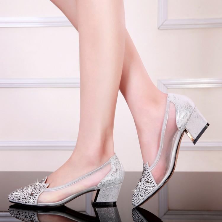 Women's shoes single pumps 2014 genuine leather sheepskin rhinestone pointed toe lace gauze female sandels network plus size