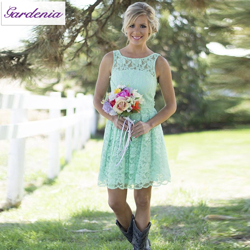 Summer Style Mint Green Bohemian Bridesmaid Dresses A line Scoop Neck Short Lace Wedding Guest Gowns