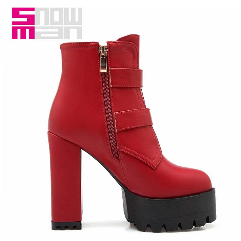 Fashion  Lady's Elegant Thick High Heels Spring Fall Winter Boots Buckle Straps Super High Heels Thick Platform Ankle Boots