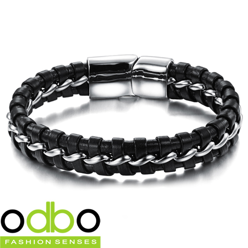 New 2015 Unique creative Men bracelet accessories fashion leather mix stainless steel bracelets jewelry Free Shipping DTS898(China (Mainland))