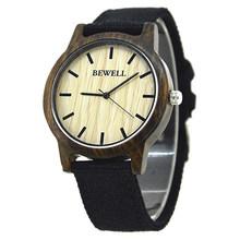BEWELL mode décontracté montres en bois pour hommes avec bande de tissu montre-bracelet résistant à l'eau avec boîte 134A(China)