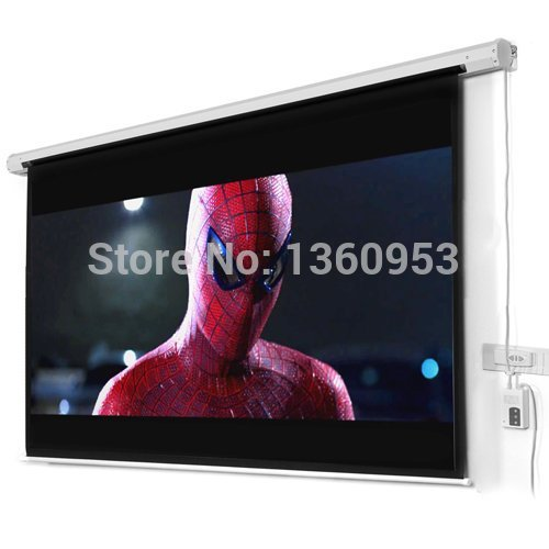 100 inches 16:9 Wall Mounted Motorized Matt White HD Projection Screen with remote