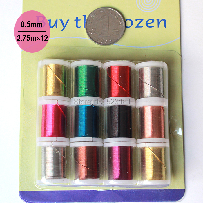 0.5mm mixed color enamelled round copper wire 2.75m/roll 33m or 108ft jewelry beading wire DIY 24 gauge colors coated wire spool(China (Mainland))