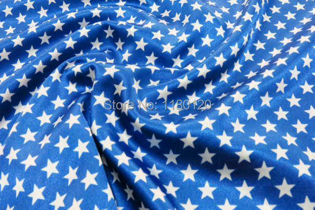 celebration decorate imitated silk cloth material Blue Europe Star pattern satin spandex fabric(China (Mainland))