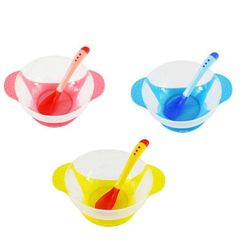 Toddler Temperature Sensing Feeding Lid Training Bowl with Spoon Cartoon Binaural Baby Feeding Tableware Child Plate Sucker Bowl