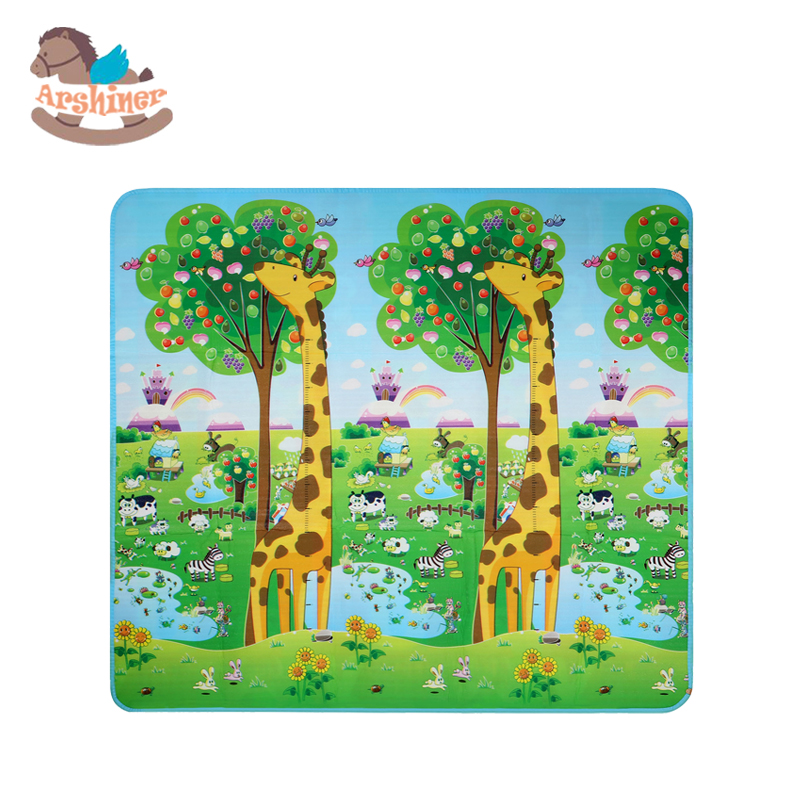 Arshiner Baby Crawling Mat Double Surface Kids Play Rug Child Beach Mat Picnic Carpet Activity Mat Cartoon With Carry Bag(China (Mainland))
