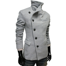 2015 Hot Sale Winter Coat Style Koren Wool & Blends Overcoat Black Blue Red Gray Colors Casual Coat Manteau Homme Plus Size XXXL(China (Mainland))