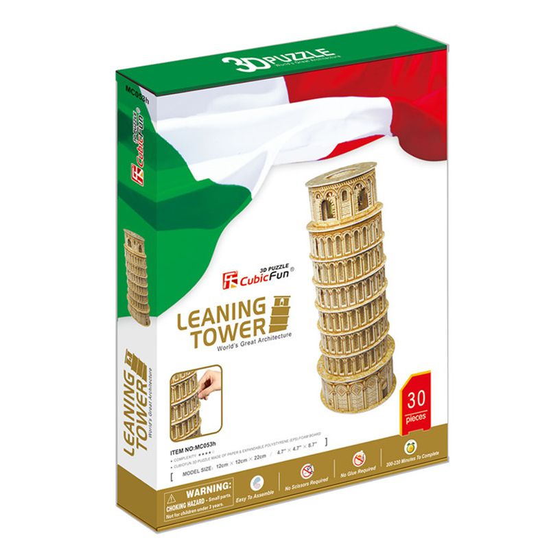 Kids Toys Cubic Fun 3D Puzzle Leaning Tower (Italy) Model DIY Puzzle Children Toys Birthday Gifts Educational Toys MC053h(China (Mainland))