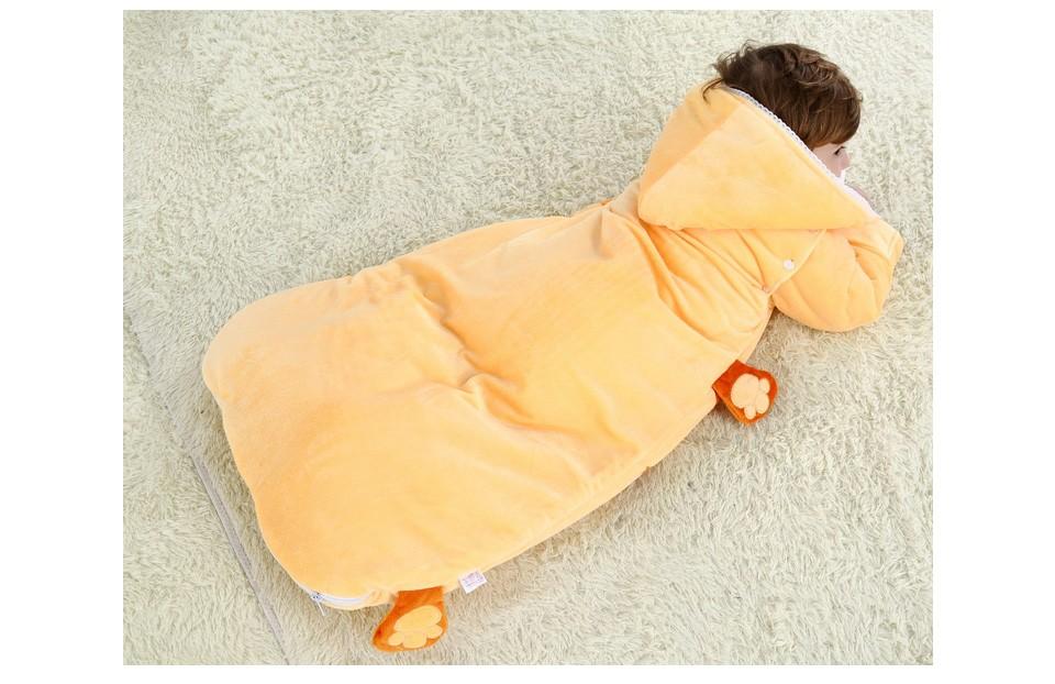 Скидки на Животное Ребенка Спальный Мешок Для Новорожденных Осень Зима Согреться Предотвращение Ногами Одеяло Хлопка Sleepsacks Пижамы в шляпе