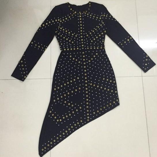 High Quality hl Black Long Sleeve Beading Rayon Bandage Dress Celebrity Evening Party Dress