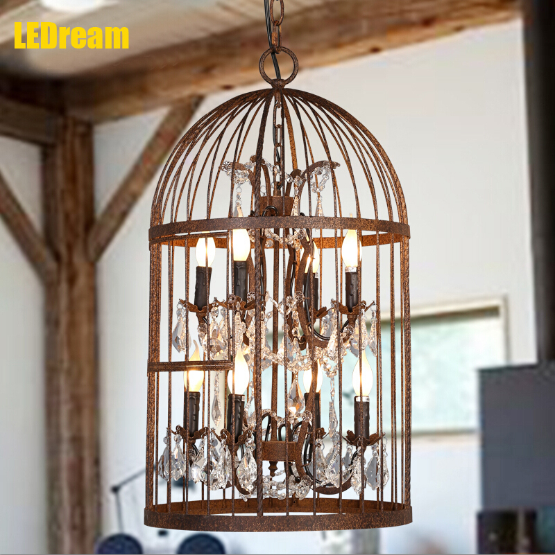 American rural Nordic habitable retro nostalgia cage creative contemporary sitting room hotel, wrought iron chandelier crystal<br><br>Aliexpress