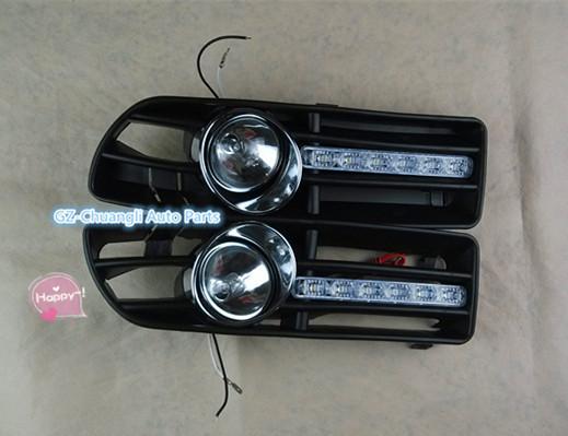 Refit car stying For fog lamp for VW JETTA BORA MK4 1999-2004 FRONT FOG LIGHTS Lens+BUMPER CHROME RING +daytime LED running(China (Mainland))
