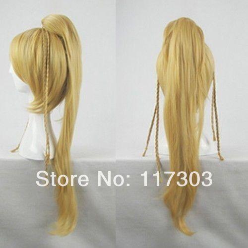 Final Fantasy X 10 Rikku cosplay wig BLONDE Long coser tail party costume hair 2636# - xingxing wang's store
