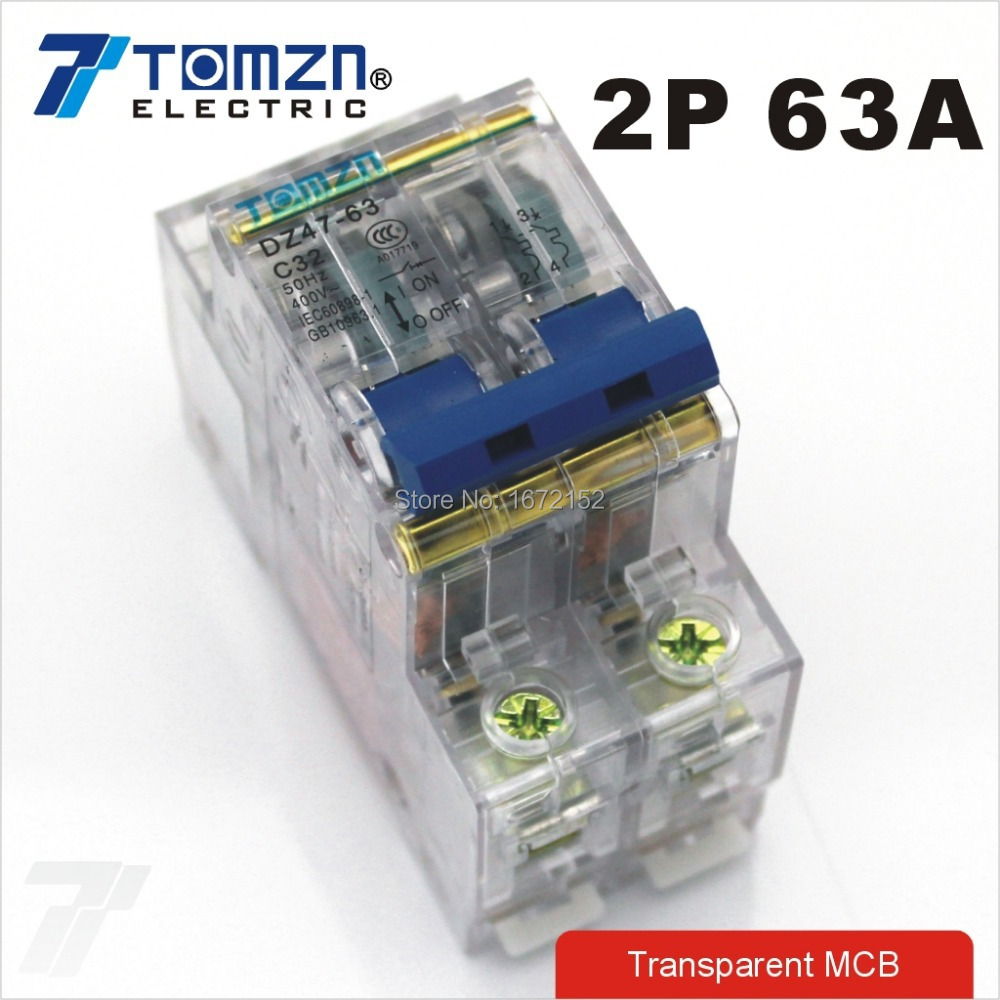 2P 63A Transparent case Mini Circuit breaker MCB DP<br><br>Aliexpress