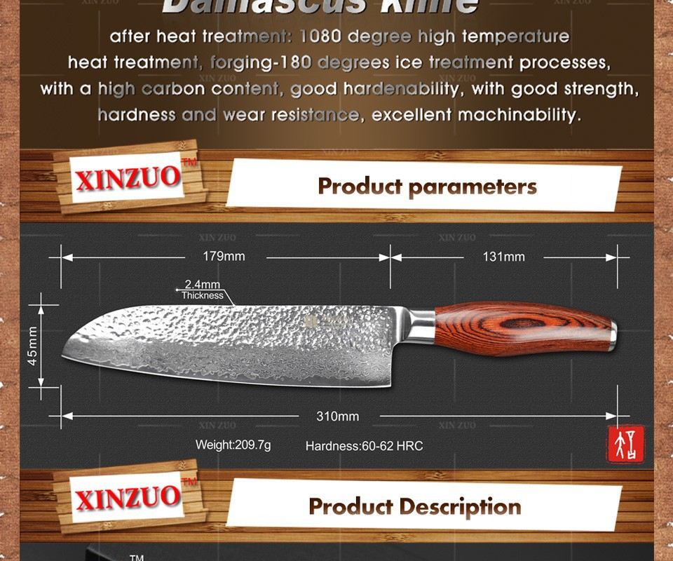 "Buy 2015 New 73 layers 7"" santoku knife Japan Damascus steel kitchen knife japanese chef knife with Color wood handle free shipping cheap"