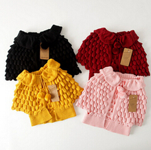 Hot Sale Fashion Kids Sweater Coat Pineapple Cardigan Thicken Children knitted shawl cape outwear 1-7Y baby girls Jackets