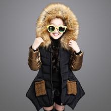 Kids Girls 2015 New Mianfu Winter Coat Thick Wool Collar Casual Jacket Children Big Girl Jacket