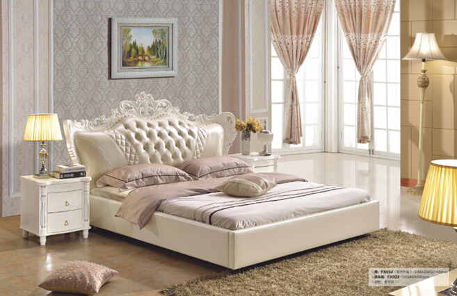 2016 Hot Sale Sale Modern No Synthetic Leather Bedroom Furniture King Size Synthetic Leather Bed Baroque Bedroom Furniture(China (Mainland))