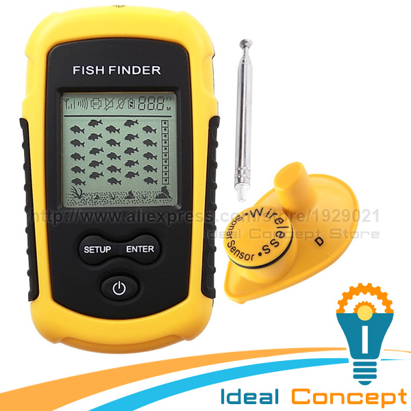 Lucky wireless fish finder sonar fishfinder 40m depth for Lucky fish finder