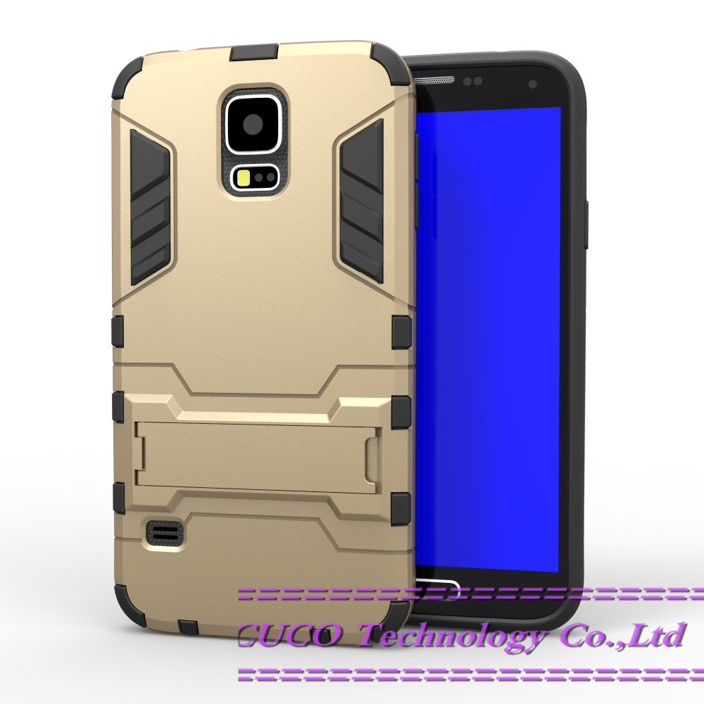 New Hybrid Armor Heavy Duty Shock Proof Case For Samsung Galaxy S5 i9600 With Stents TPU+PC 2 in1 Kickstand Protect Shell 10PCS(China (Mainland))