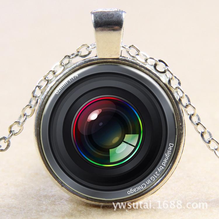 2015 European and American street night market innovative glass pendant AliExpress digital camera retro fashion necklace B432(China (Mainland))