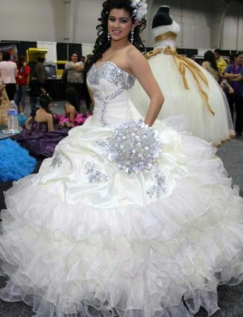 gorgeous puffy sweet 16 sixteen princess white quinceanera
