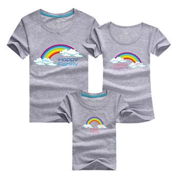 2016 summer family t-shirts rainbow soft cotton family clothes mother father daughter sets outfits suits casual family tshirts