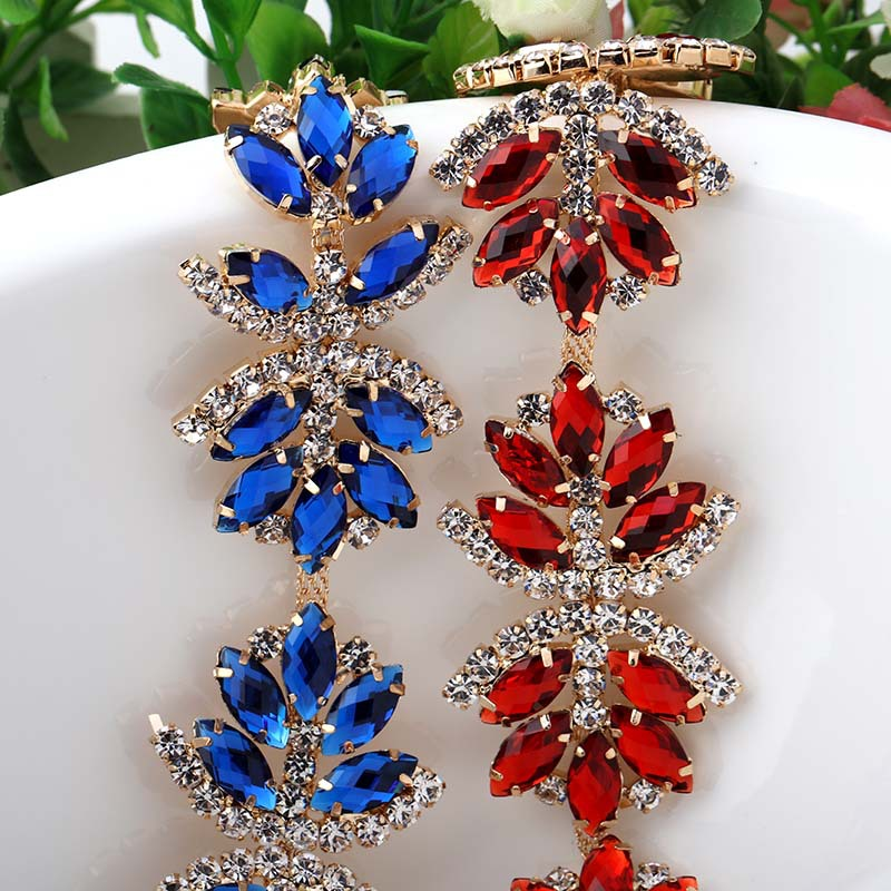 1yard Colorful Crystal Rhinestone Cup Chain Applique Embellishment Trims For Bridal Wedding Costume Sewing(China (Mainland))
