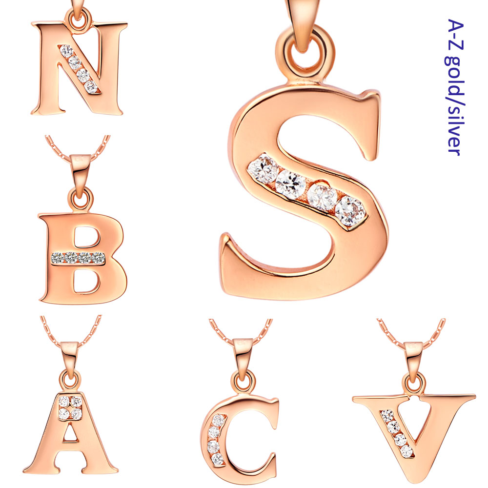Fashion jewelry wholesale Letter A B C D E F G H I J K L M N O P Q I S T U V W X Y Z Necklaces for Men/Women Rose Gold Plated(China (Mainland))