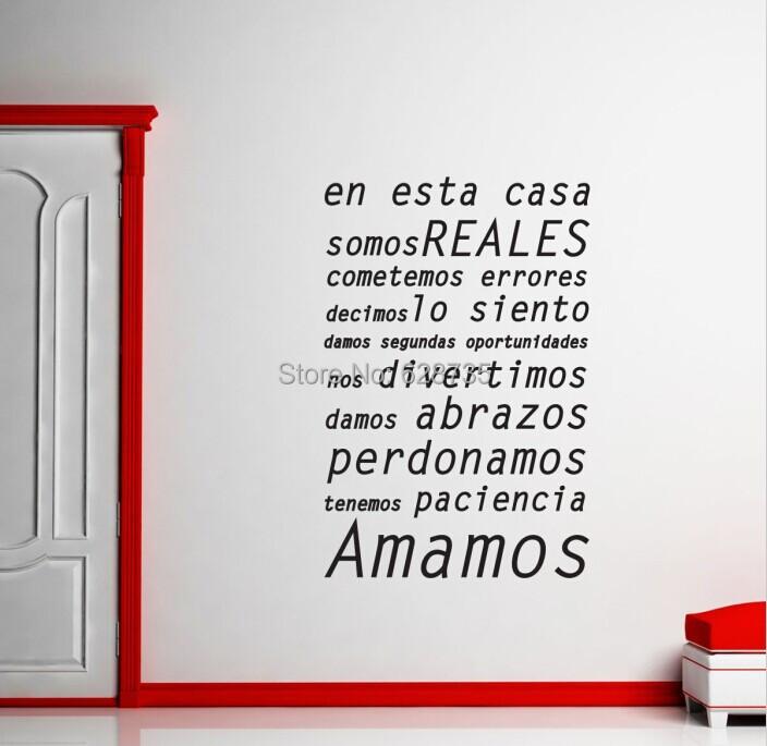 produto Spanish language vinyl wall decal sticker home living room wall art decoration  sticker En esta casa free shipping esp001