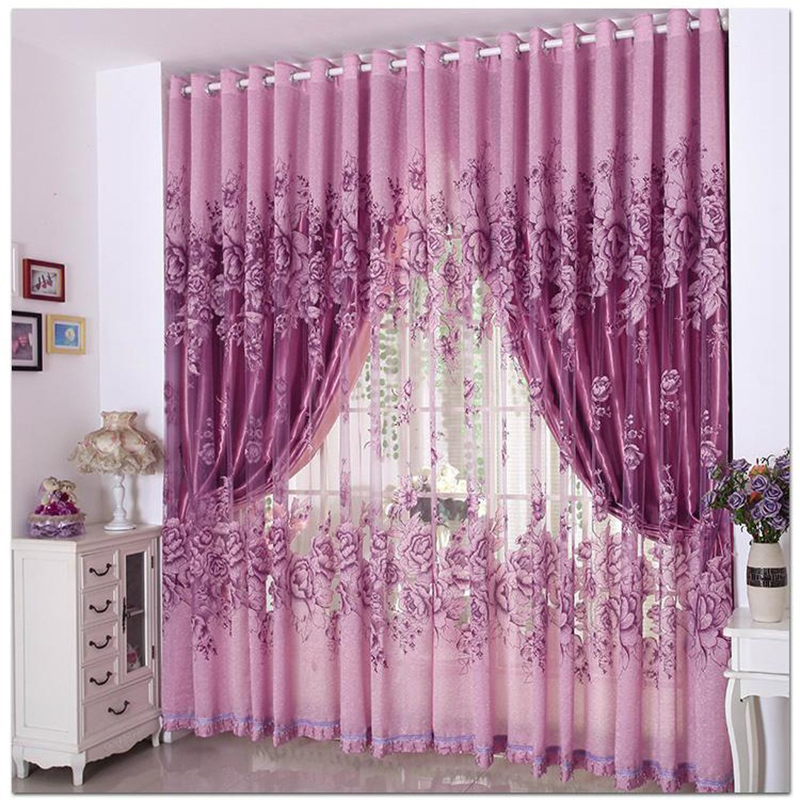 Luxury purple curtains for living room flower bead for M s living room curtains