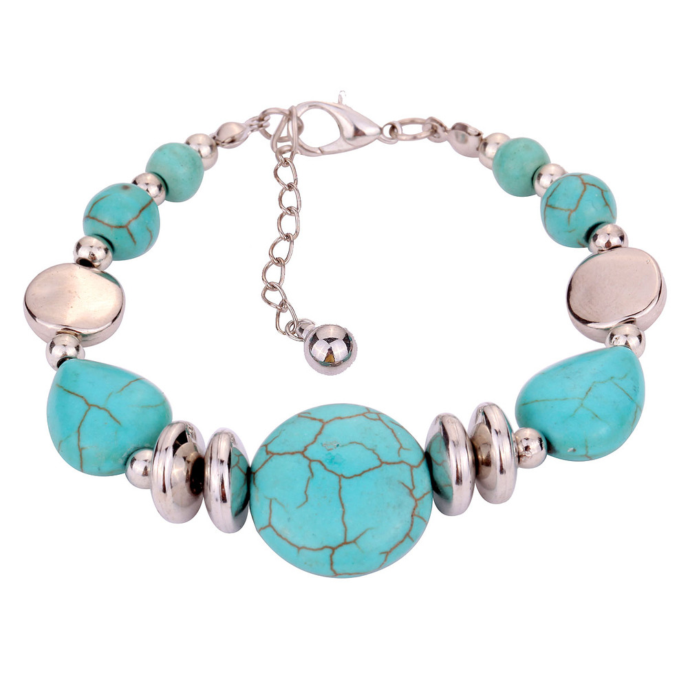Summer style hot selling tibetan silver bangle Bracelet Fine Jewelry turquoise  bracelet for Women and Men +Free shipping(China (Mainland))
