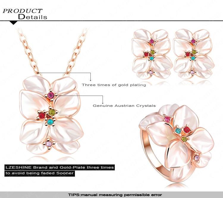 מכר סט התכשיטים ורד זהב מצופה קריסטל אוסטרי אמייל עגיל/שרשרת/טבעת פרח להגדיר לבחור גודל של טבעת ITL-ST0032
