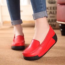Women's Shoes Nnatural Leather 2016 Platform women's shoes platform wedges shaking increased shoes high heel casual fashion(China (Mainland))