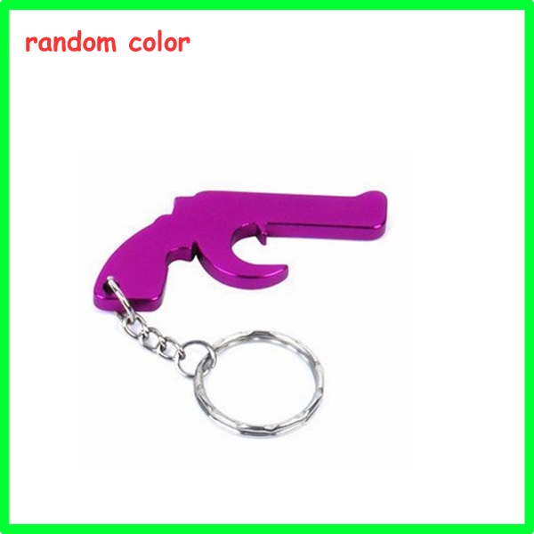 buy pistol shaped bottle opener keychain anodized aluminum keyring opener. Black Bedroom Furniture Sets. Home Design Ideas
