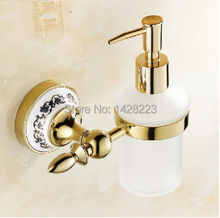 Wholesale and Retail Wall Mounted Bathroom and Kitchen Vessel Liquid Golden Brass Soap Dispenser(China (Mainland))