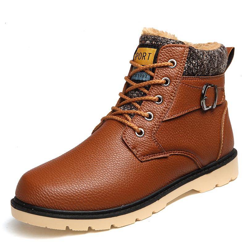 Men Boot Winter Man Boots Ankle Shoes Warm Snow Velvet Fur Work Martin Cowboy Motorcycle Male Shoe Lace-up Tactical Boots