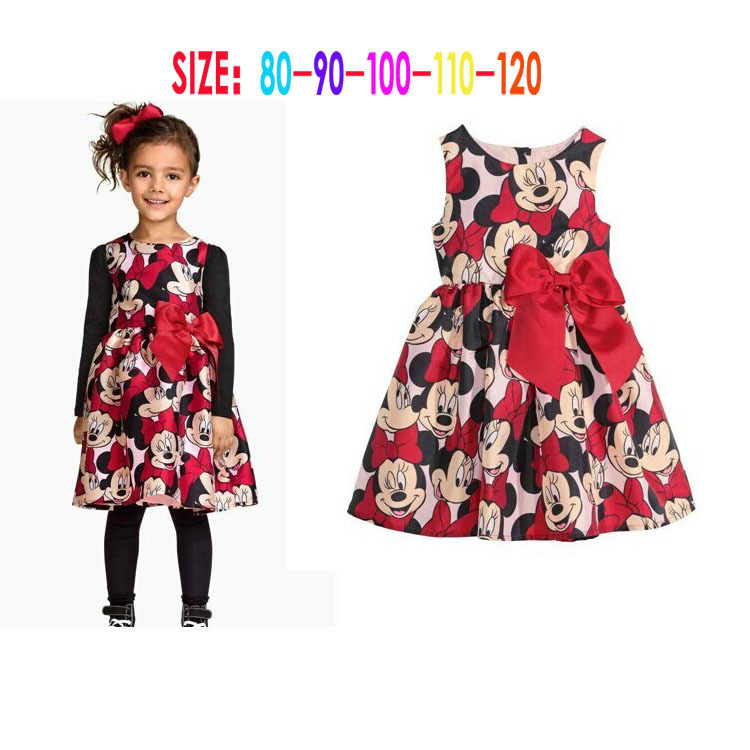 2016 New Summer Dress Minnie Mouse Dress Girls Clothes Printing Dot Sleeveless Dress Dress Girl Fashion 2-6Y(China (Mainland))