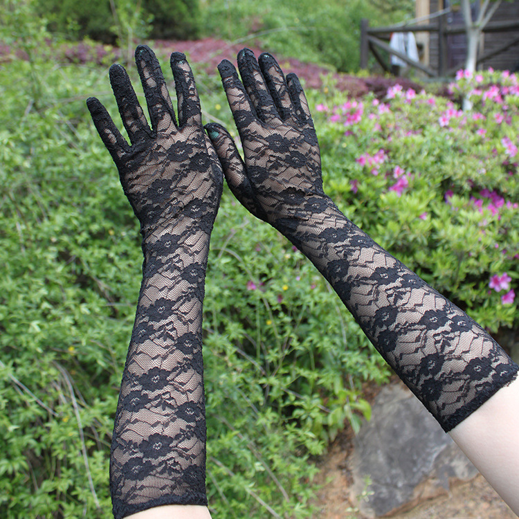 Sun female thin half summer long UV gloves Lace Gloves fingerless driving glove breathable wholesale