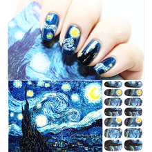 Van Gogh Starry Night Romantic Nail Art Nail Stickers, High Quailty Nail Tools Gel Decals Makeup French Manicure free shipping(China (Mainland))
