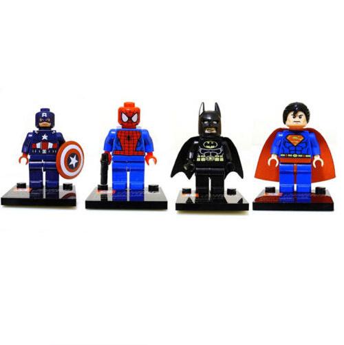 4pcs/Lot 2014 New Free Shipping Super Heroes Captain America Spiderman Batman Superman Minifigures Blocks Building Toys Figures(China (Mainland))