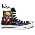 Wen Hand Painted Anime Casual Shoes Unisex Custom Design Fullmetal Alchemist Edward Elric High Top Men