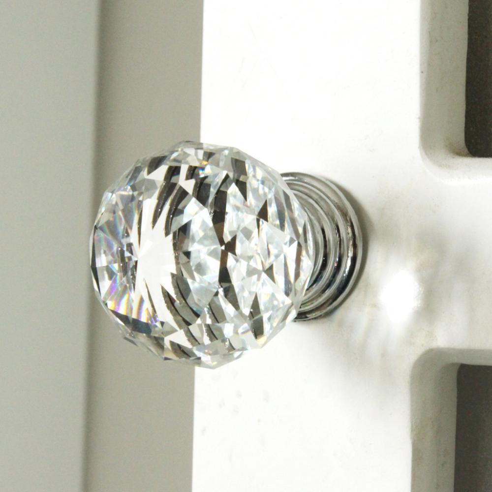 K9 Clear Crystal Knob Chrome Glitter Knob Kitchen Cabinet