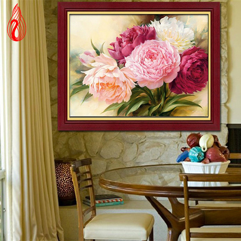 YGS-133 DIY 5D Full Diamonds Embroidery Peony flowers Round Diamond Painting Cross Stitch Kits Diamond Mosaic Home Decoration(China (Mainland))
