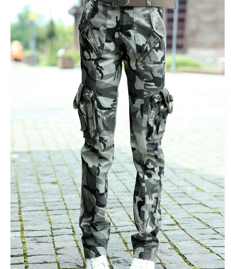 Military Camo Cargo Pants Women 2016 Multi-pockets Outdoors Pants Quality Camouflage/Army Green Trousers Free Shipping(China (Mainland))