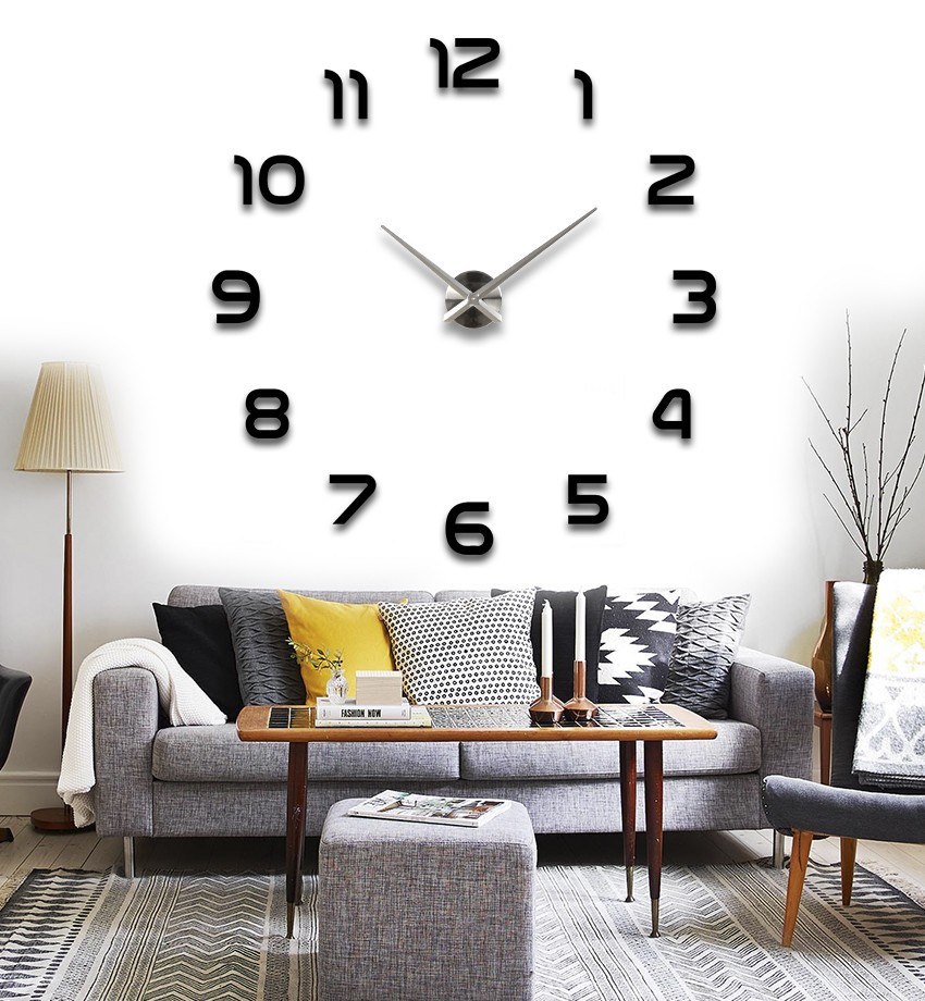 Fashion 3D Large Mental Big Size Home Decor DIY Wall Clocks living room meeting Decal Decoration Decent Gift - LY gifts store