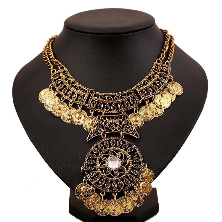 2016 New Design Tassel Mental Money Bohemian Style Jewelry Fashion Vintage Alloy Tassel Pendant