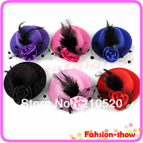 "Y92"" New Fashion Lady's Mini Hat Hair Clip Feather Rose Top Cap Lace fascinator Costume Accessory 6Colors Free Shipping(China (Mainland))"